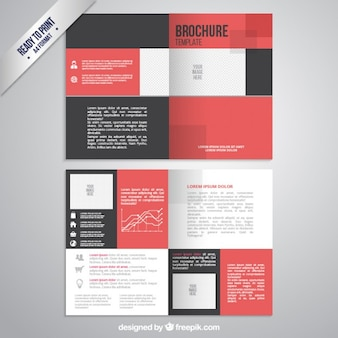 Brochure template in black and red color