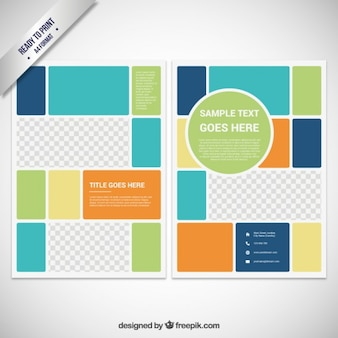 Brochure template in color block style