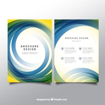 抽象円とパンフレットテンプレート