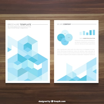 Brochure template with blue cubes