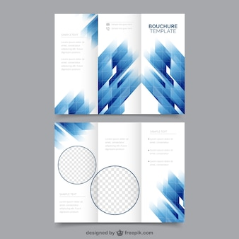 Brochure template with blue geometric forms