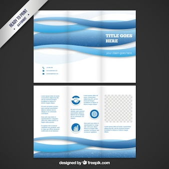 Brochure template with blue waves