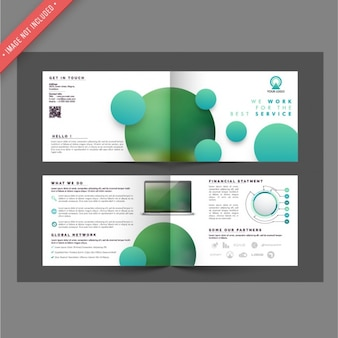 Brochure template with circles in green tones