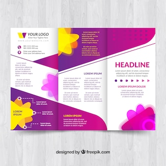 Brochure template with colorful shapes