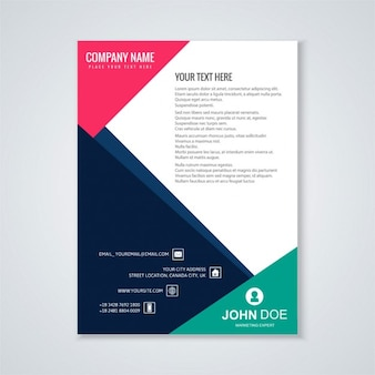 Brochure template with geometric shapes