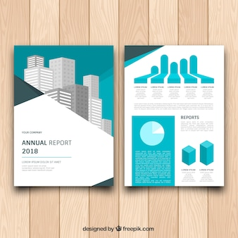 Brochure template with graphics and buildings