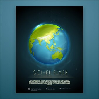 Brochure template with planet earth