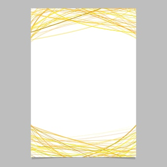 Brochure template with random arched stripes in yellow tones at top and bottom - illustration on white background