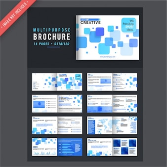 Brochure templates with geometric shapes in blue tones