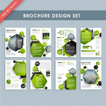 Brochure templates with green and black hexagons