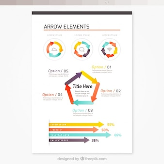 Brochure with arrow elements infographic