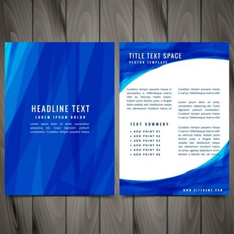 Brochure with blue shapes