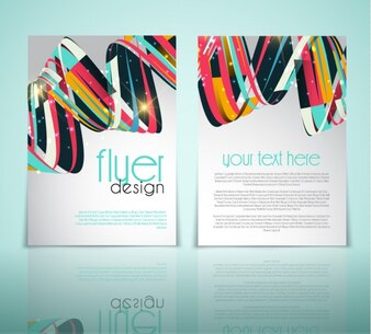 Brochure with colorful and glitter waves