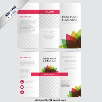 Brochure with colorful flower