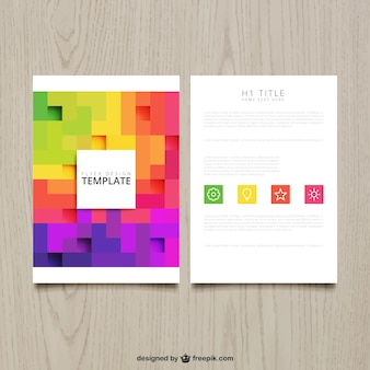 Brochure with colorful pixels