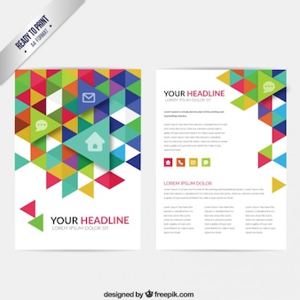 Brochure with colorful triangles
