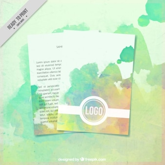 Brochure with watercolor stains for corporate identity