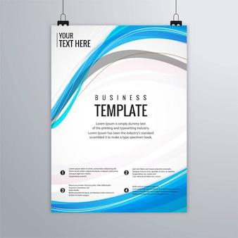 Brochure with wavy lines, blue colors