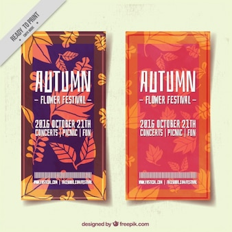 Brochures of mid-autumn festival with hand-drawn leaves
