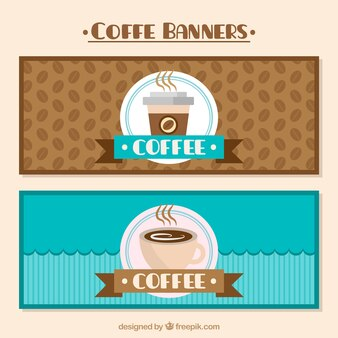 Brown and blue coffee banners