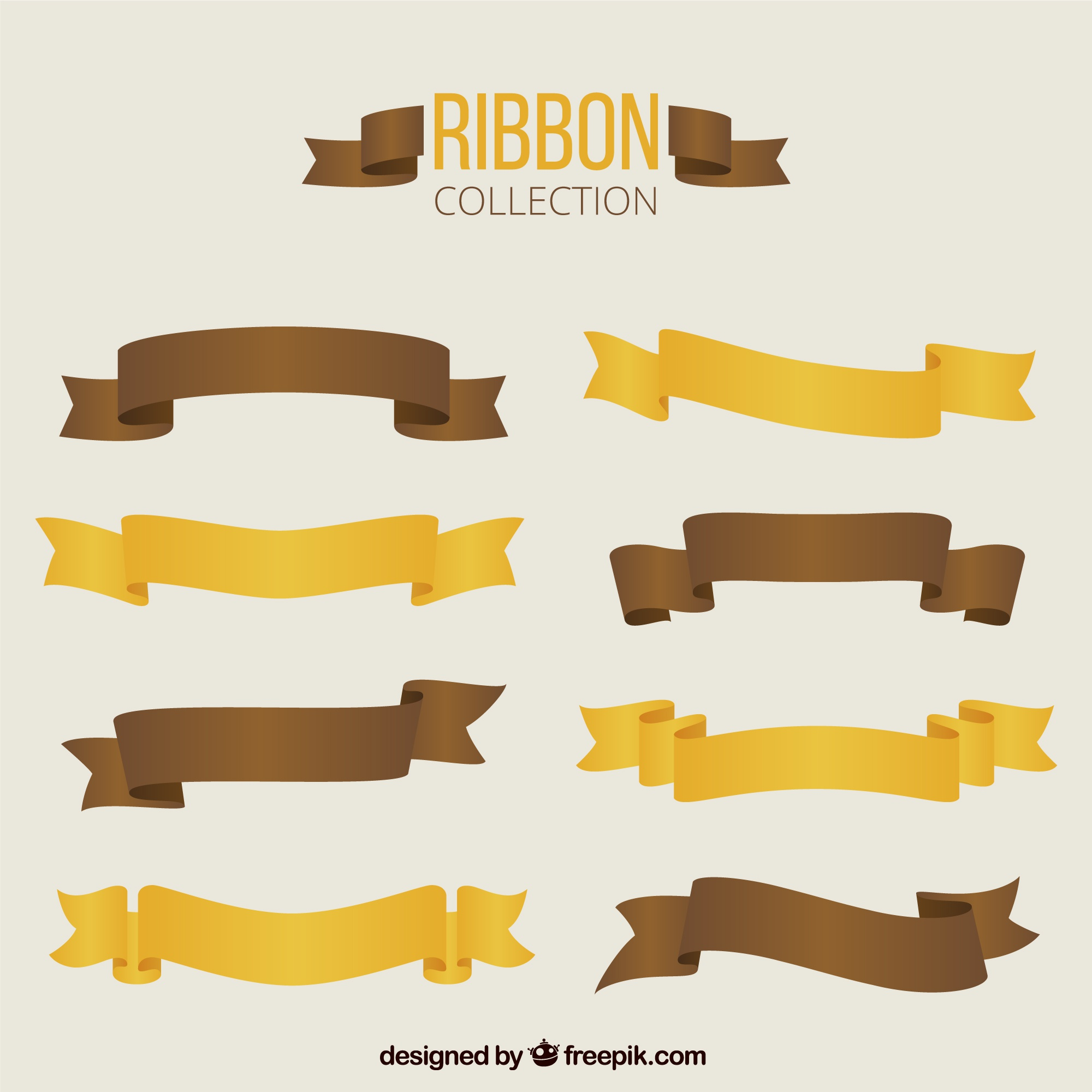 Brown and yellow retro ribbons