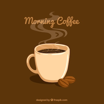 Brown background with coffee mug and coffee beans