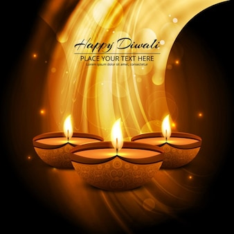 Brown background with wavy shapes and three candles for diwali