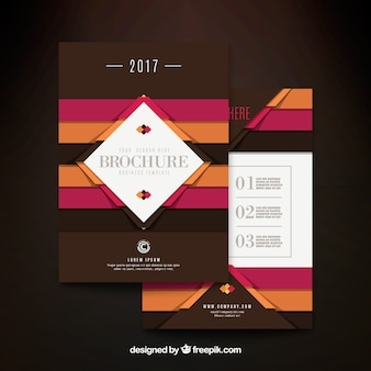 Brown business brochure with stripes