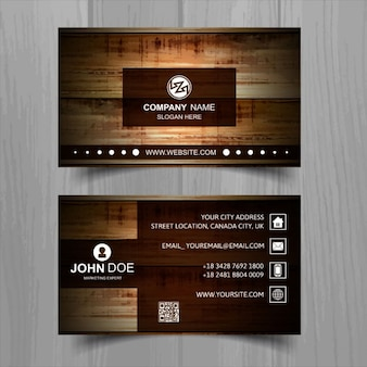 Brown business card with wooden texture