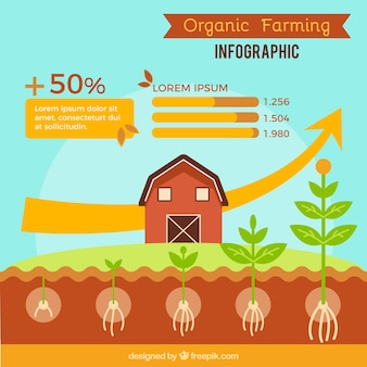 Brown farm and farming infography