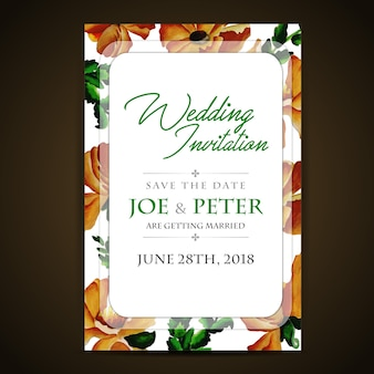 Brown Floral Wedding Invitation Card