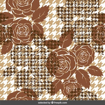 Brown houndstooth background with roses
