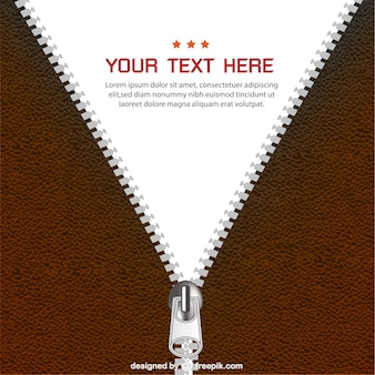 Brown leather zipper background