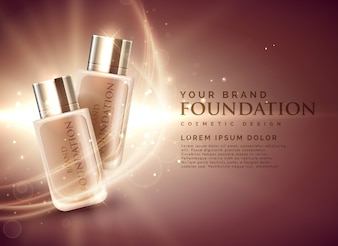素晴らしい化粧用ファンデーションの商品広告の3Dイラストのコンセプト