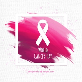 Brushstrokes background with world cancer day ribbon
