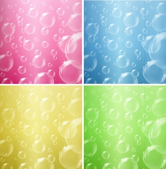 Bubbles floating on four different color backgrounds