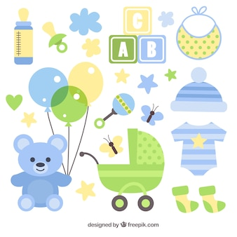 Buggy with assortment of baby elements in flat design
