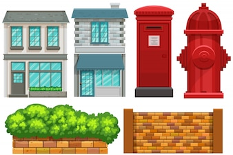 Building design with fence and postbox
