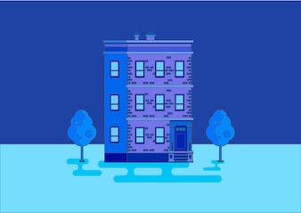 Building with trees in blue tones vector illustration