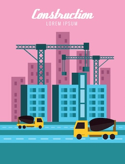 Buildings and cranes. construction concept. flat design elements. vector illustration
