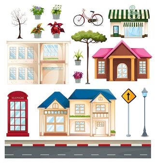 Buildings and things we see on the street illustration