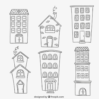 Buildings in hand drawn style