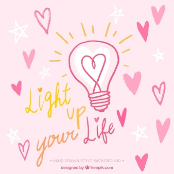 Bulb background with hearts and romantic message
