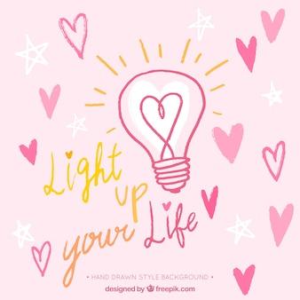 心とロマンチックなメッセージと電球の背景