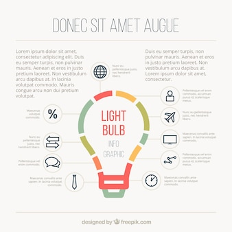 Bulb infographic template in flat style