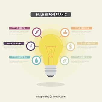 Bulb infographic template with different colors