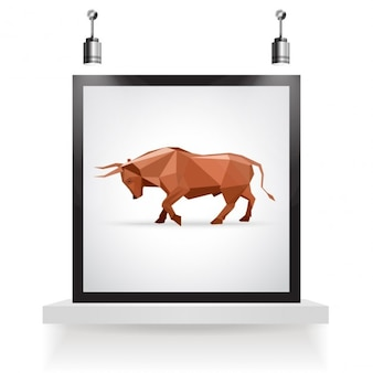 Bull origami design in a frame