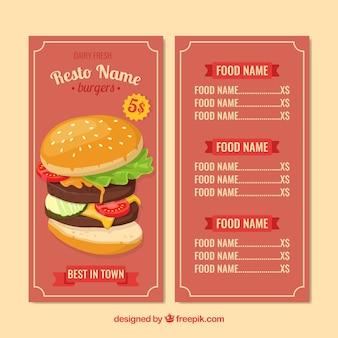 Burger menu template in flat design