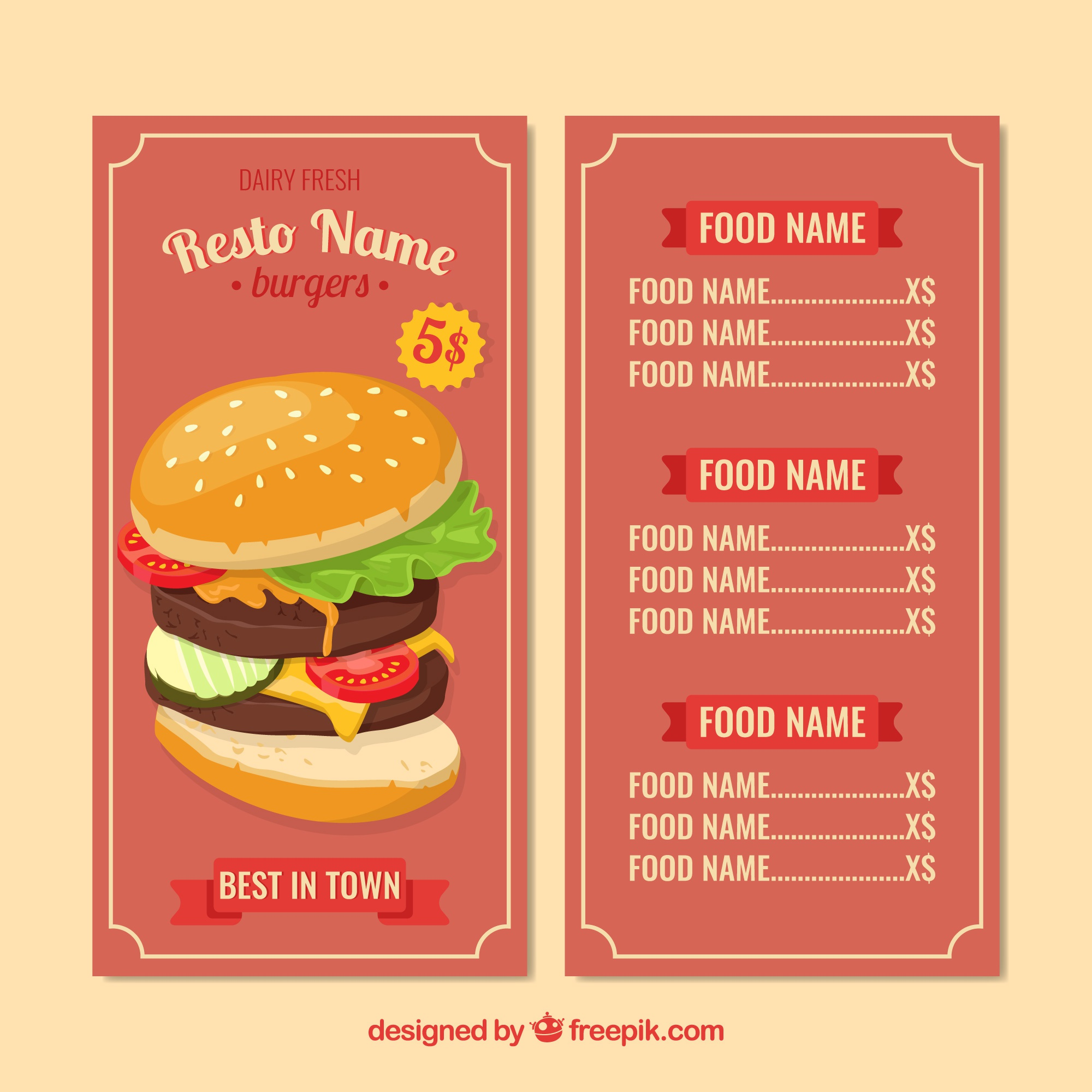 Burger menu template in flat design