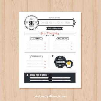 Burger menu template in minimalist style